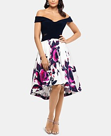 XSCAPE Off-The-Shoulder Floral-Skirt Dress