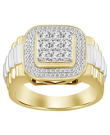 Diamond (1/4 ct.t.w.) Men's Ring in 10k Yellow and White Gold
