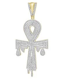 Men's Diamond (3/4 ct.t.w.) Ankh Cross Pendant in 10k Yellow Gold