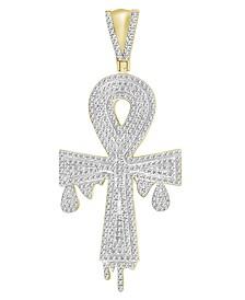 Diamond (3/4 ct.t.w.) Ankh Cross Pendant in 10k Yellow Gold
