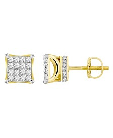 Diamond (1 ct.t.w.) Square Earring Set in 10k Yellow Gold