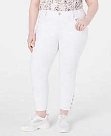 Trendy Plus Size Button Skinny Jeans