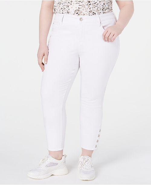 Seven7 Jeans Trendy Plus Size Button Skinny Jeans