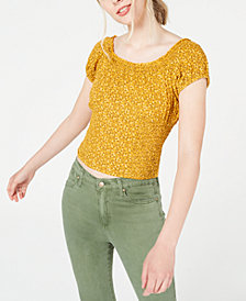 Self Esteem Juniors' Floral-Printed Smocked Peasant Top