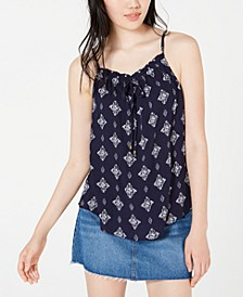 Juniors' Printed Tie-Front Tank Top