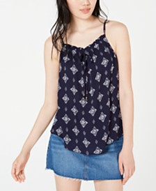Hippie Rose Juniors' Printed Tie-Front Tank Top