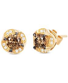 Chocolatier® Diamond Halo Stud Earrings (3/4 ct. t.w.) in 14k Gold