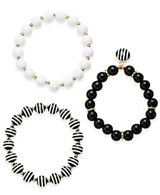 I.N.C. Gold-Tone 3-Pc. Set Black & White Bead Stretch Bracelets, Created for Macy's