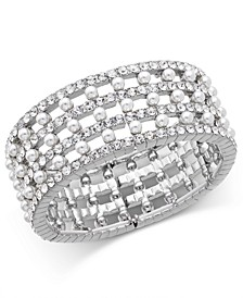 INC Silver-Tone Imitation Pearl & Crystal Stretch Bracelet, Created for Macy's