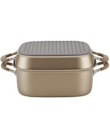 "Advanced Home Hard-Anodized Nonstick Bronze Two Step Meal Set, 7-Qt. Roaster and an 11"" Deep Square Grill Pan"