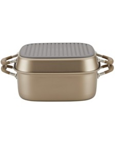 "Anolon Advanced Home Hard-Anodized Nonstick Bronze Two Step Meal Set, 7-Qt. Roaster and an 11"" Deep Square Grill Pan"