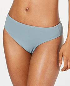 Juniors' Seas the Day Textured Mid-Waist Bikini Bottoms