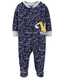 Baby Boys 1-Pc. Construction-Print Footed Cotton Pajamas
