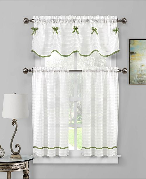 Carlee 3 Piece Bow Trim Kitchen Curtain Set