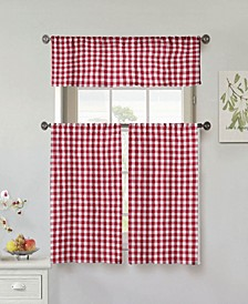 Umid 3-Piece Check Kitchen Curtain Set