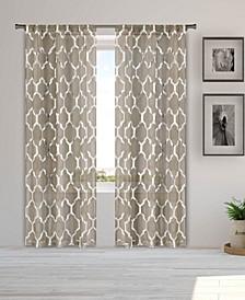 """Bena 38"""" x 84"""" Metallic Print Sheer Curtain Set"""