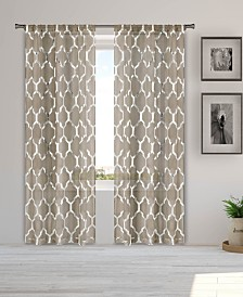 "Bena 38"" x 84"" Metallic Print Sheer Curtain Set"
