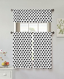 "Roza 58"" x 36"" Heart Print 3-Piece Tier and Valance Set"
