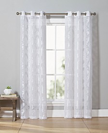 "Josephina 38"" x 84"" Damask Sheer Curtain Set"