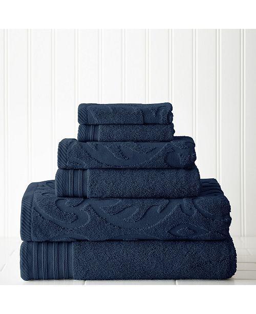 Modern Threads 6-Pc. Jacquard/Solid Medallion Swirl Towel Set