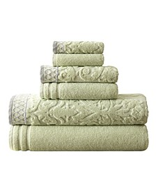 Damask Jacquard Embellished Border 6-Pc. Towel Set