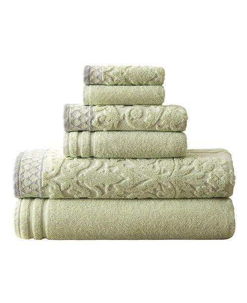 Modern Threads Damask Jacquard Towels With Embellished Border 6 Piece Set