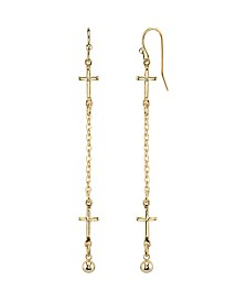 2028 14K Gold Dipped Cross Chain Linear Drop Earrings
