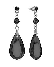 2028 Silver-Tone Black Briolette Teardrop Earrings