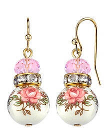 2028 Gold Tone Lt. Rose Pink and Floral Beaded Drop Earrings