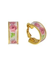 2028 Gold-Tone Yellow Floral Clip Hoop Earrings