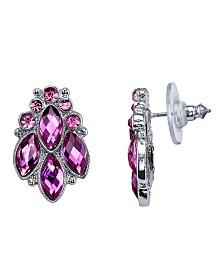 2028 Silver-Tone Purple Cluster Post Earrings