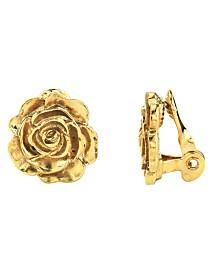 2028 14K Gold-Dipped Flower Button Clip Earrings