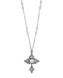 """Silver Tone Filigree Cross with Simulated Pearl Crystal Accent Necklace 16"""" Adjustable"""
