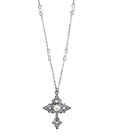 "2028 Silver Tone Filigree Cross with Simulated Pearl Crystal Accent Necklace 16"" Adjustable"