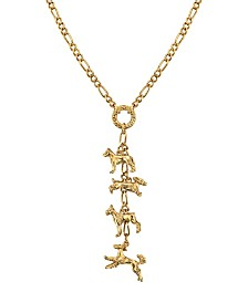 2028 14K Gold Dipped 4 Dog Charm Necklace 20""