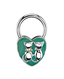 2028 Silver-Tone Blue Enamel and Ab Crystal Cats Heart Key Fob