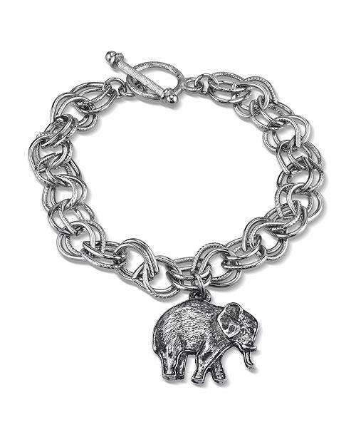 2028 Pewter Elephant Charm Toggle Bracelet