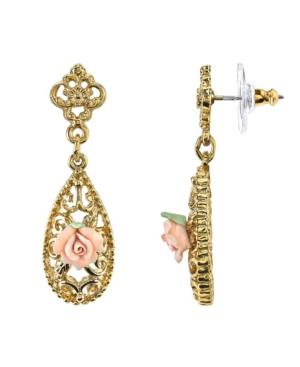 Gold-Tone Pink Porcelain Rose Drop Earrings