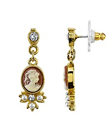 Gold-Tone Oval Cameo Simulated Pearl and Crystal Drop Earrings