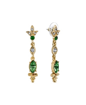 Gold-Tone Belle Epoch with Navette Shaped Emerald Color Stone Drop Earrings