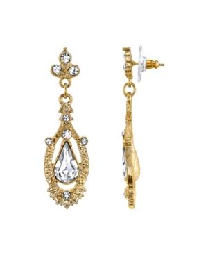 Gold-Tone Crystal Edwardian Pear Shaped Center Drop Earrings