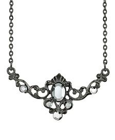 "Black-Tone Belle Epoch Hematite Color Center Stone Collar Necklace 16"" Adjustable"