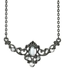 "Downton Abbey Black-Tone Belle Epoch Hematite Color Center Stone Collar Necklace 16"" Adjustable"