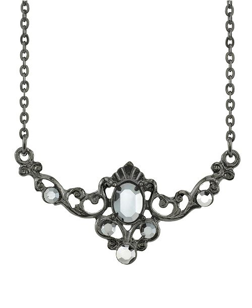 "Downton Abbey Black-Tone Belle Epoch Hematite Color Center Stone Collar Necklace 16"" Adjustable"