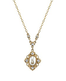 "Gold-Tone Simulated Pearl and Crystal Pendant Necklace 16"" Adjustable"