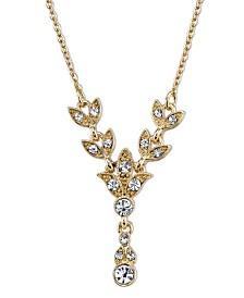 "Downton Abbey Gold-Tone Crystal Leaf Drop Necklace 16"" Adjustable"