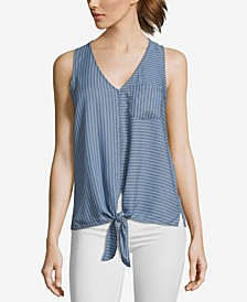 JohnPaulRichard Striped Tie Front Tank