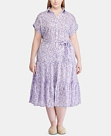 Lauren Ralph Lauren Plus-Size Tiered-Hem Cotton Dress