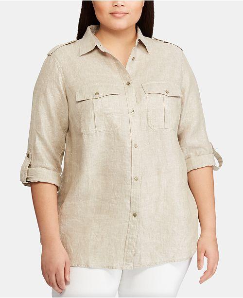 Lauren Ralph Lauren Plus-Size Linen Utility-Inspired Shirt