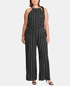 Lauren Ralph Lauren Plus-Size Stripe-Print Halter Jumpsuit